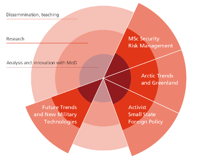 Circle diagram which shows which fields Centre for Military Studies is involved in