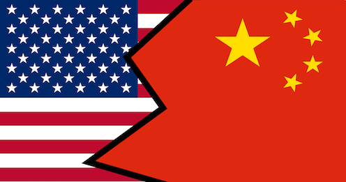 Flag which combines the flag from the US and China