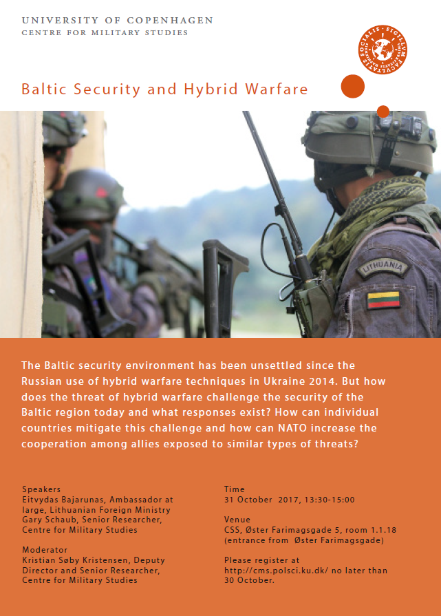 Poster for the seminar Baltic Security and Hybrid Welfare. The poster includes time, place and speekers.