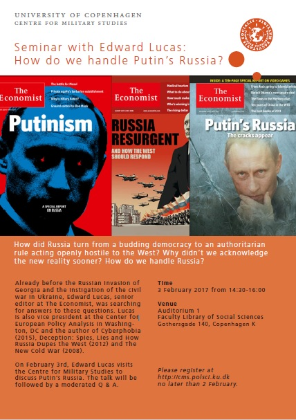 Invitation to seminar with Edward Lucas: How do we Handle Putin's Russia?
