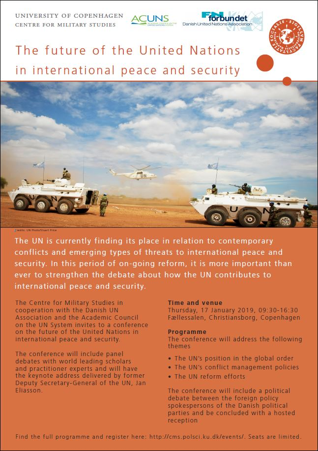 "Invitation to the event ""The future of the UN in international peace and security"""