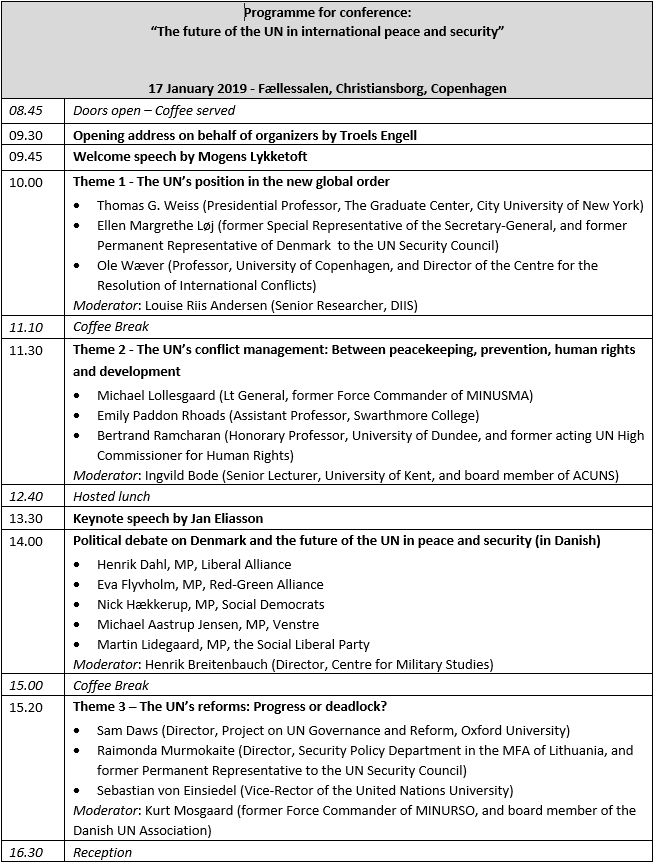 Programme for the event The future of the UN in international peace and security
