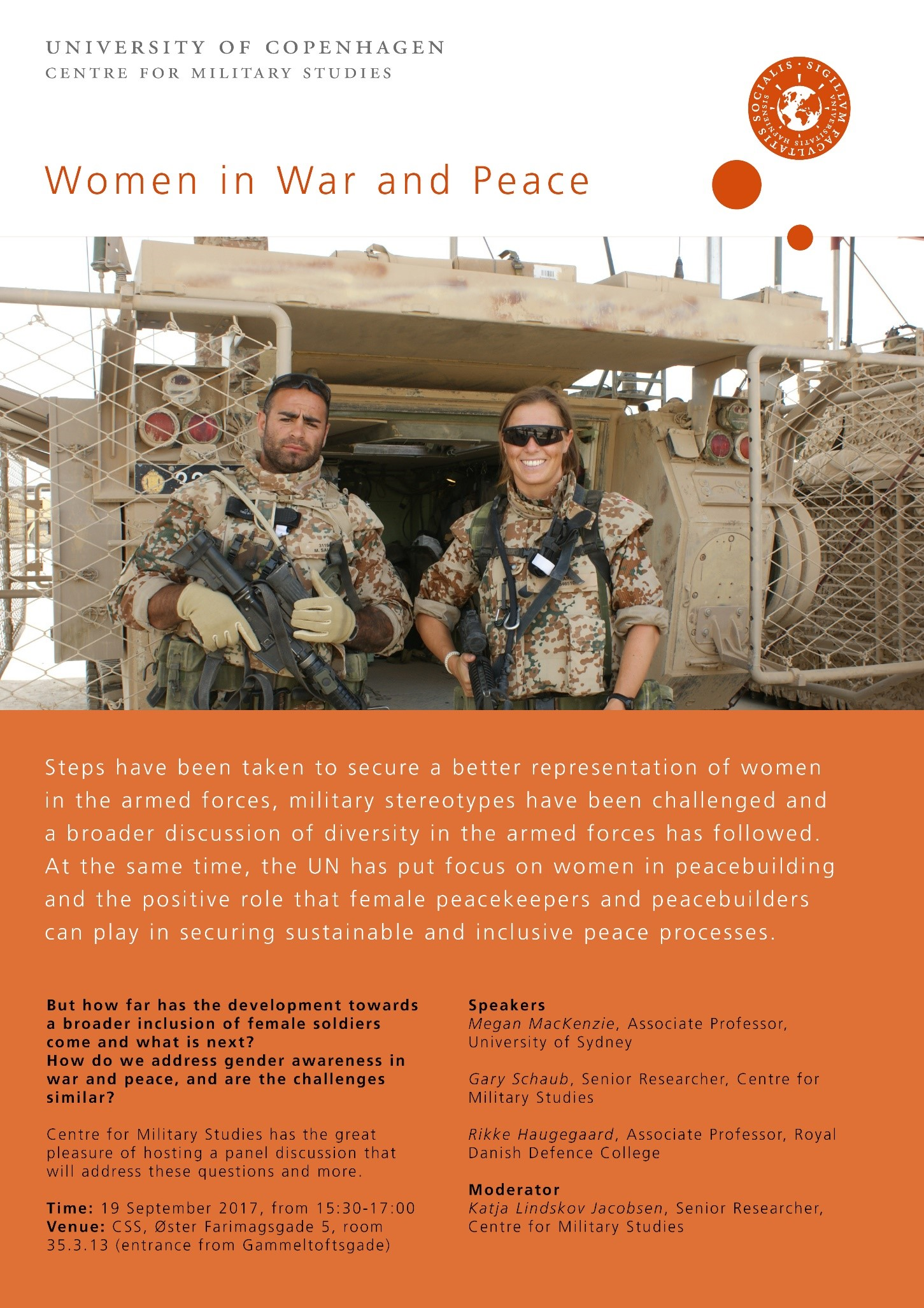 "Invitation to the seminar ""Woman in War and Peace""."