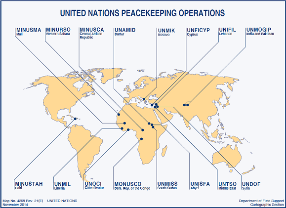 Map showing places where United Nations Peacekeeping operations takes places